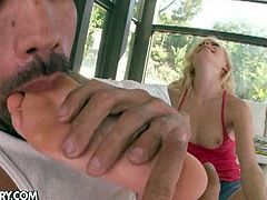 See the hot blonde belle Elaina Raye letting her man lick her feet before giving him a handjob and a footjob. Then she's ready to devour that dong.