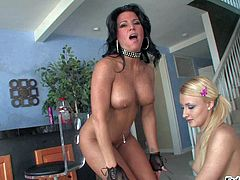 Turned on black haired milf with big fake tits and innocent looking blonde teen Kendra Secrets and Mallory Rae Murphy in sexy outfits have arousing mother and daughter fantasy in living room