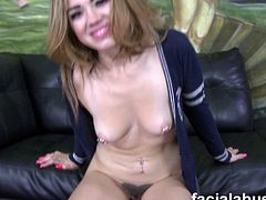 Angelina Mylee is a nasty babe,with hairy pussy.Watch this nasty naughty babe getting on her knees and taking on big cock deep in her throat.Nice blowjob and facial abuse video.