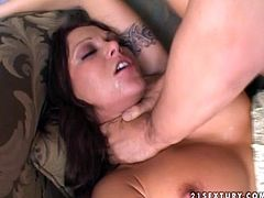 Sexy slut Ana Nova lets some dude choke her. Then she takes his cock in her juicy vag and they bang in missionary and other positions.