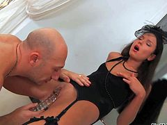 Smoking hot young brunette Nataly Gold with perfect body figure and long hair in black lingerie gets her firm ass and shaved cunny licked by bald Omar Galanri all over the place