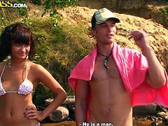Sizzling Russian slut goes to a boat trip with two aroused dudes. Once they get to a quiet corner, they force her take off her bikini in order to demonstrate small tight tits.