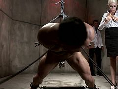 These two men are her subjects and she will do with them as she pleases. Her bondage consists of tying them up and fucking their tight little asses.