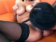 Flamboyant brunette whores Candy Alexa and Sensual Jane will show you perfect lesbian show