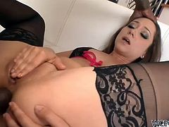 Remy LaCroix is a horny babe wearing sexy lingerie who's going to get her asshole destroyed today by a big black cock in this anal interracial sex tape.
