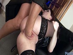 Hot babe in stockings and corset sucks a cock and gets fisted