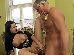 Busty brunette Anastasia Brill pleases hunk Christoph Clark in naughty foot fetish scene