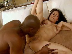 Pale curvy asian Sasha Hollander with juicy tits gets licked and polishes her clit while randy black bull with shaved head and muscled body is drilling her tight twat deep