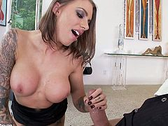 Hot tattooed chick Juelz Ventura pleases her man with an unforgettable blowjob and lets him drill her juicy snatch in various positions afterwards.