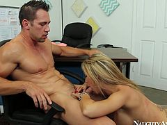 She is beautiful blonde babe with gorgeous body shape and tasty wet cherry. She serves the guy her cooch letting him eat it dry. Then she kneels down sucking his dick deepthroat.