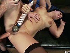 Sexy brunettes lick and toy each others asses. After that they also use the strap-on. Then these hotties get fucked hard and deep by James Deen.