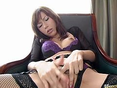 The Japanese MILF Miki Yamashiro is going to get her pussy wet by masturbating in her sexy lingerie.