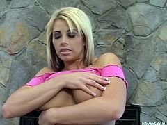 This sexy blonde pornstar grabs a hold of Harry's cock and doesn't let go until he shoots his cum everywhere. She jacks him nice and hard in front of her big, round tits. Brooke loves giving a good handjob and she's very skilled at it.