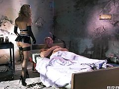 In a dirty room Cherie's patients waits on his bed. He is ill and needs medical attention asap. The beautiful milf doc approaches him with her sexy outfit and starts taking care of Johnny. Her experience is all he needs and the doc begins sucking his cock to make him feel better.