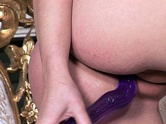 Arousing blondie Marry Queen is one insatiable nymphomaniac. She finger fucks herself until she is screaming with pleasure and slams a big dildo in her tight pussy.
