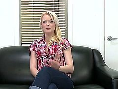 Precious blonde bitch Zoey Paige came to the adult movie casting and stripping her pretty big ass on