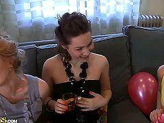 This is what a college party looks like. Stunning lesbians Tolina,Venera,Yani and other chicks love to use dildos in order to enter the world of orgasms and pleasure.
