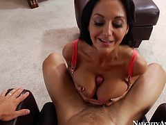 Busty tanned appetizing babe Ava Addams does her best while sucking a cock