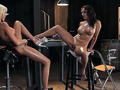 Superb lesbians are having their twats oiled and ready for some naughty porn action