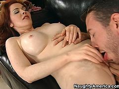 Mae Victoria is passionate model having big natural boobs and tasty wet snatch. Horny guy sticks his tongue to her profusely slick cooch eating dry. Later she sucks the dick deepthroat.