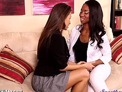 Here is quite an exquisite lesbian sex scene. A beautiful white babe goes to bed with a stunning ebony lady. They kiss and eat pussy like it's their last time.