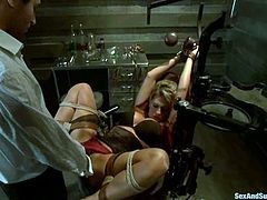 Tied up blonde girl with a gag in her mouth gets her wet pussy toyed. Later on she gets fucked in her mouth, pussy and ass.