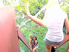 Lucky young guy got picked up by two girlfriends Mariah Madysinn and Rebecca Blue and fucked up by them pretty hard and wild!