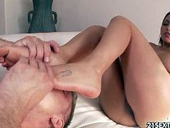 Sexy brunette latina Adrianna Luna loves cunnilingus as any other babe,Watch her giving awesome foot job before riding a cock and she rides fat cock like crazy slut.Enjoy!