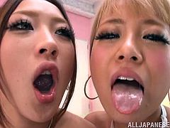 Two Japanese chicks in school uniform kiss with guys and suck their dicks. After that these chicks get fucked. Guys also cum in their mouths.