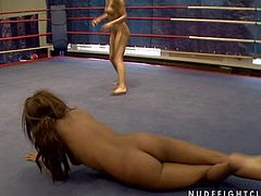 Attractive young hot ass brunette Cindy Hope with natural boobs gets naked during amazing chick fight with furious ebony Keisha Kane in the ring while referee films them in close up