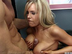 Sexy blonde with huge tits enjoys large penis drilling her wet holes in hardcore