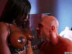 Interracial porn has never been more interesting and in here, Diamond Jackson is using her soft hands and huge breasts to make this dude super horny!