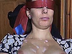 Cumshot on french Colette Choisez bukkake