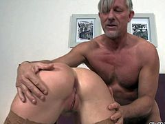 Young long haired brunette hottie Morgan Moon with nice natural tits in stockings and sexy dress gets nailed hard by mature fucker Christopher Clark with hot body all over the place