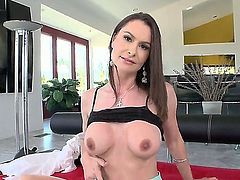 Hot slut Nora Noir sitting on the couch and hotly taking off her sexy clothes to demonstrate her precious boobs and tight shaved cunt and asshole!