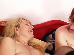 Two steamy grannies in sultry black stockings lay by each other on the bed and pound their gaped shaved pussies with dildos. Later they take a double-head dildo in order to fuck simultaneously ass to ass in steamy Mom Loves Mom lesbian sex video.