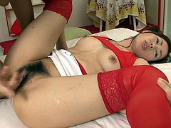 Tasty looking Japanese milf in passionate red lingerie gets her small tits oral stroked and her beaver stretched wide right in front of cum. Later she lays in missionary style in order to her bearded vagina finger fucked.