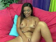 Cute naked girl Sandy with fire in her eyes masturbates her pussy with legs apart on the sofa and then takes boys hard dick in her sweet mouth. She gievs head and touches her slit with her fingers eagerly.