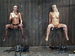 These two girls are going to be used as toys by this dominatrix who will place them in special bondage devices and fuck them with toys.