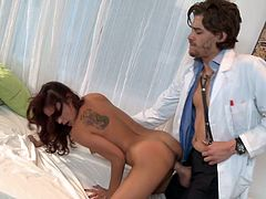Arousing hottie gets nailed hard by her horny doc eager to hear her scream