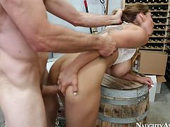 Busty whore Yurizan Beltran gets laid in wine vault