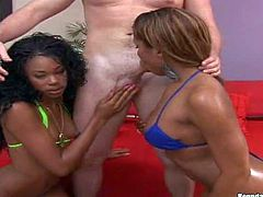 Young arousing curly babe and her ebony friend in bikinis get filmed in point of view with teasing dirty dude with their firm round jaw dropping asses in backyard by the pool