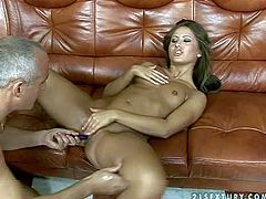 Young tanned brunette Sandra with small boobs and delicious ass spreads legs for mature fucker to polish her hairless twat with buzzing toy and takes on his cock in close up