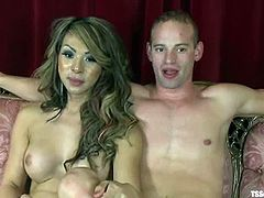 This desirable and sizzling transsexual siren Chriselle is flirting with Patrick Rouge. She tells that she wants to suck his cock and then fuck his ass. Patrick agrees right away!