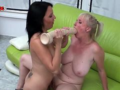 Two horny girls lick their boobs and suck huge dildo. After that the blonde girl gets fisted in her ass and pussy.