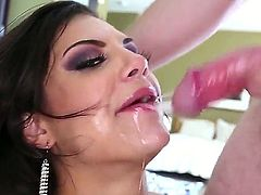 Brunette Bonnie Rotten likes having Jonni Darkko splashing her face with warm jizz
