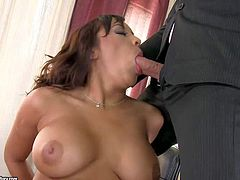 Arousing full figured brunette secretary Shains with enormous juicy hooters and pierced belly button gets fucked in the big delicious ass in awesome threesome with her bosses in the office