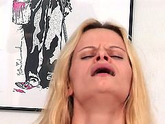 Small boobed freaky blonde Ann Marie gets a steamy anal fuck session in her gaping ass using toys