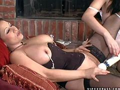 Attractive curvy Anastasia Pierce with huge natural knockers in stockings and her skilful and dirty girlfriend play with various kinky toys to orgasms by the fireplace in mind blowing fantasy