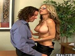 Big racked office babe Sarah Jessie feels horny